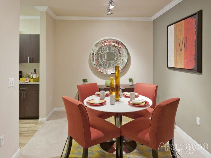 Red Adds A Touch Of Elegance To This Dining Room Cielo Apartments Http Apt Gd 1w8qlcs In Denver Co Co Apartment Decor Apartment Apartments For Rent
