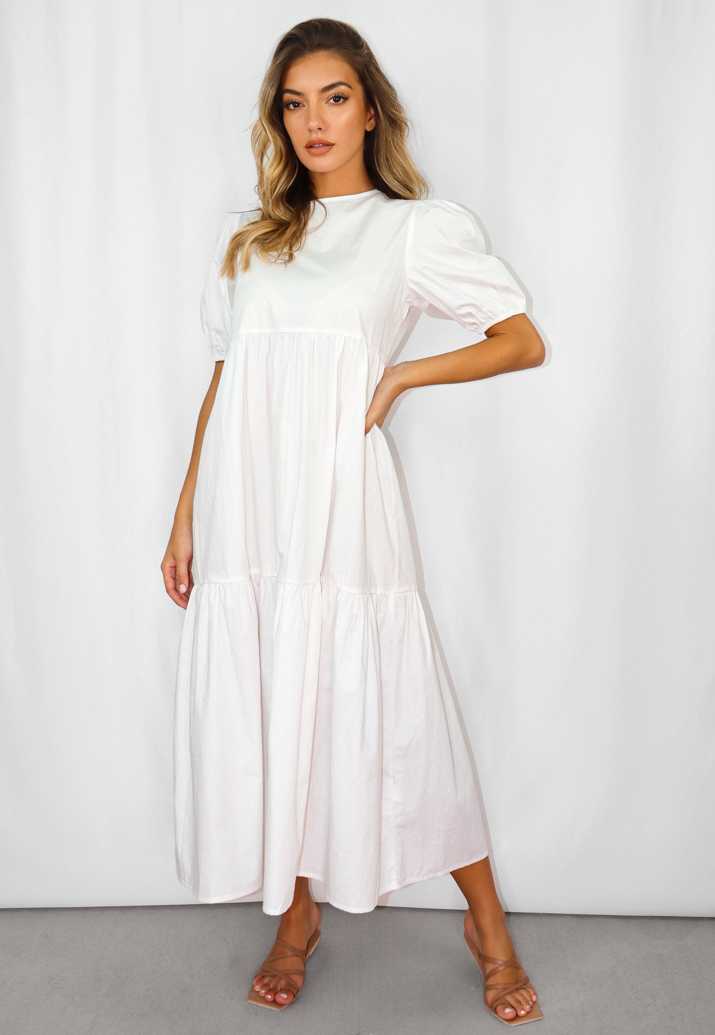 White Oversized Tiered Midi Smock Dress Sponsored Tiered Ad Oversized White Tiered Dress Casual Cotton Dress Summer Women Dress Online [ 4200 x 2900 Pixel ]