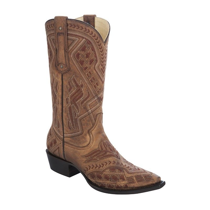 Corral Men's Cognac Embroidery Cowboy Boots - HeadWest Outfitters