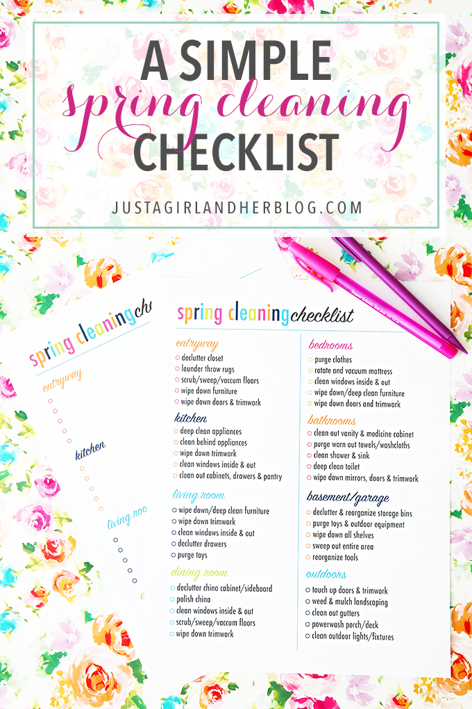 A Simple Spring Cleaning Checklist  Cleaning Checklist And Spring