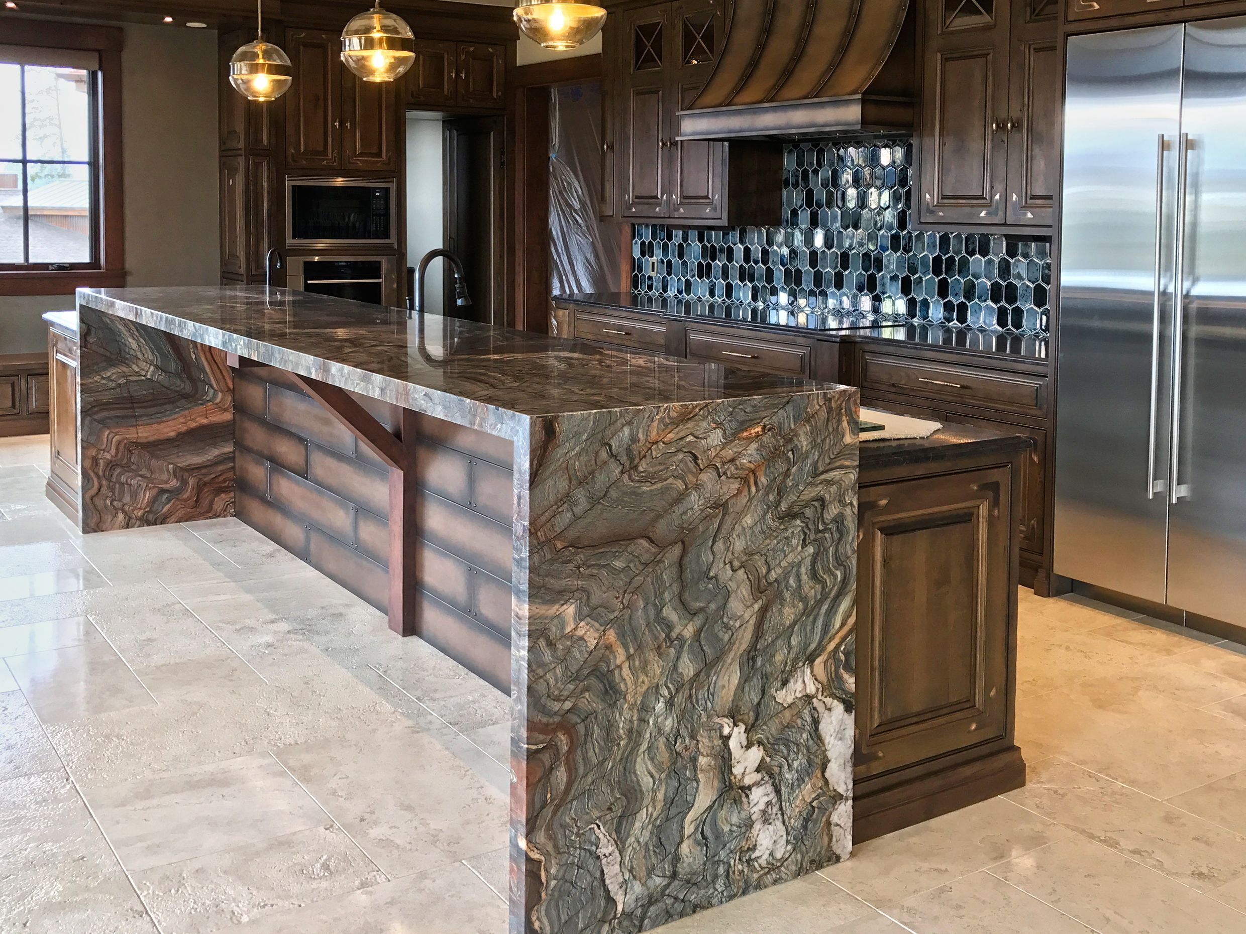 Fusion Granite Itchen Island 6cm Mitred Waterfall Edges