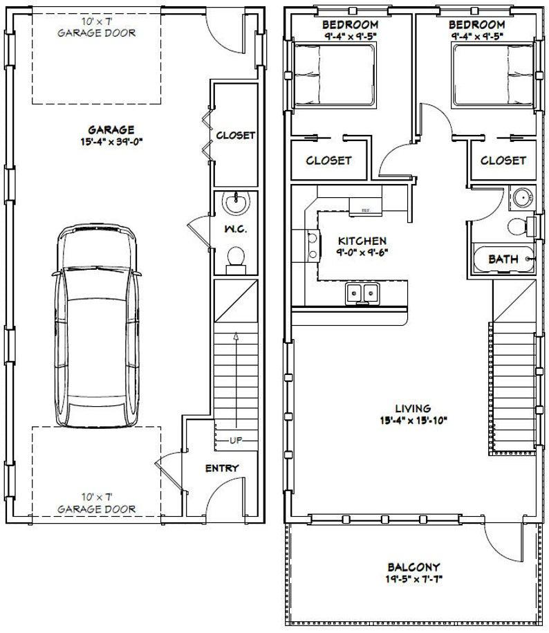 20x40 House 2 Bedroom 1.5 Bath 859 sq ft PDF Floor Etsy