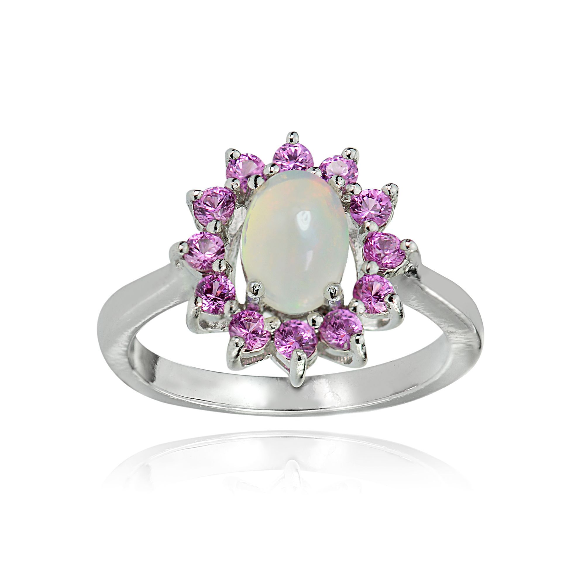 Glitzy Rocks Sterling Silver Ethiopian Opal And Created Pink