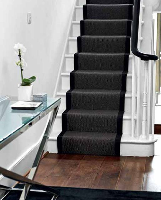 Want To Keep Your White Stairs White Simple And Sharp Stair   Black And White Carpet Stairs   Victorian   Striped   Geometric   Low Cost Simple   Unusual