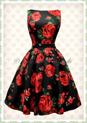 Lady Vintage 40er Jahre Vintage Rosen Kleid Red Rose Rot Schwarz