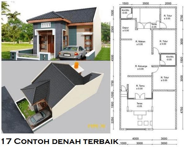 Contoh Denah Rumah Lebar 8 Meter  17 desain rumah minimalis modern 3 kamar tidur paling bagus