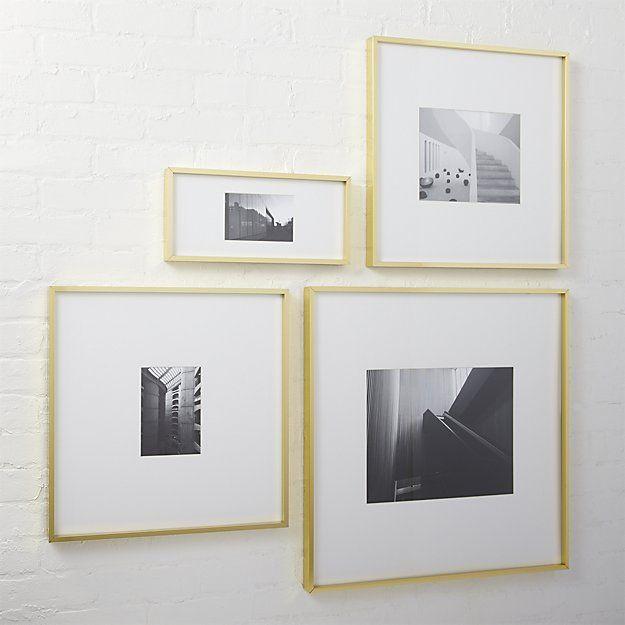 Gallery Brass Frames With White Mats Cb2 Brass Picture Frames Picture Frames Frame