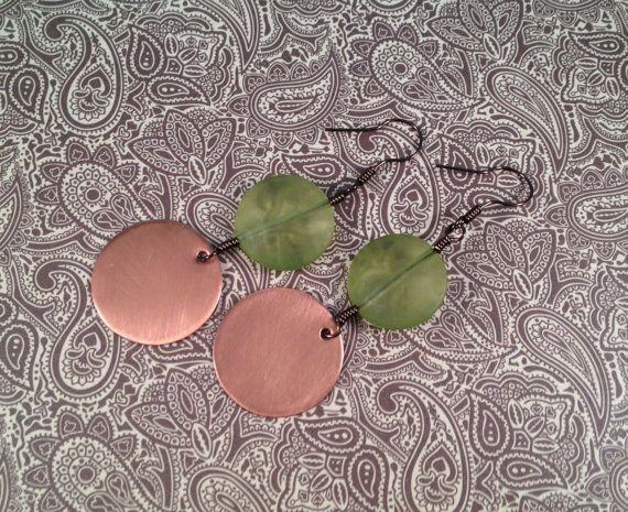 Shiny Copper and Green Double Dangles handmade by jennamahshie, $18.00 http://www.copperandteal.com
