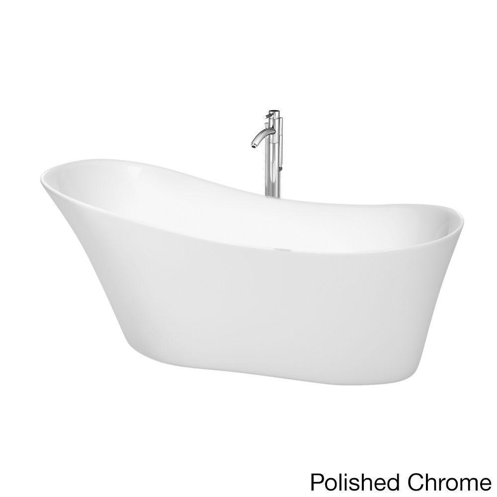 Wyndham Collection Janice 67-inch White Freestanding Soaking Bathtub ...