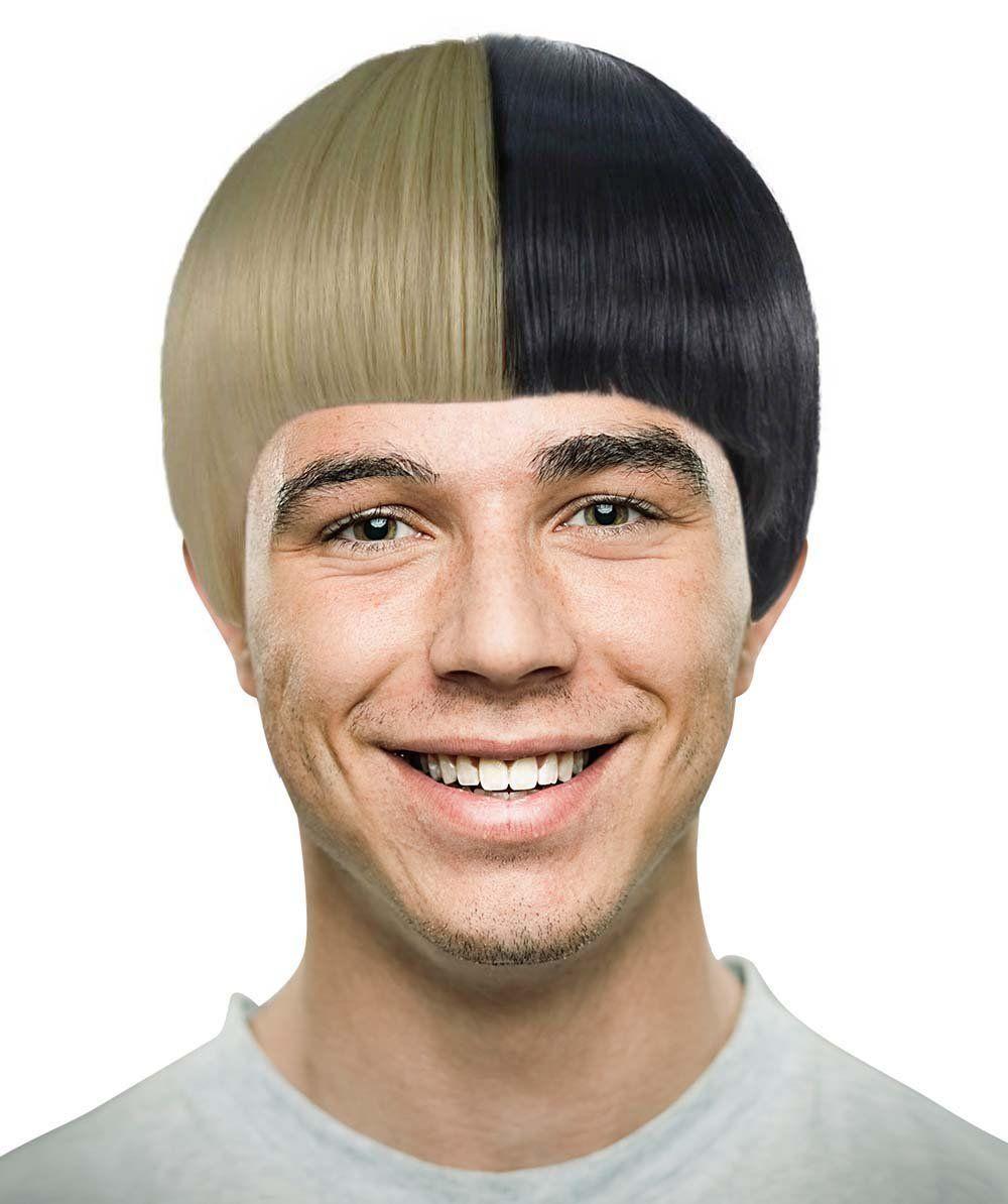 Two-tone Sia Men Wig Black And White Wig 97834bafe557