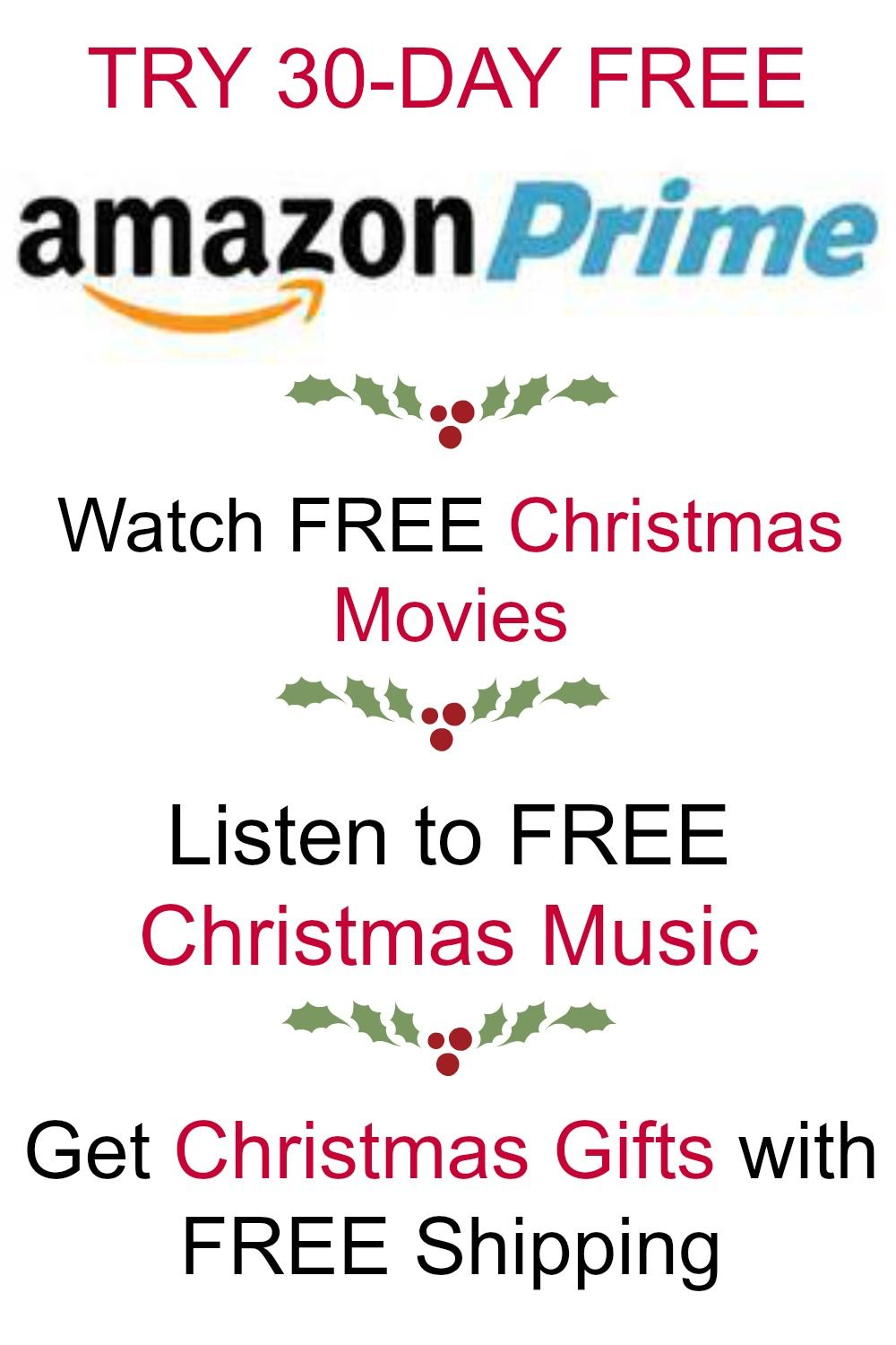 Try amazon prime 30 days for free. Watch free Christmas