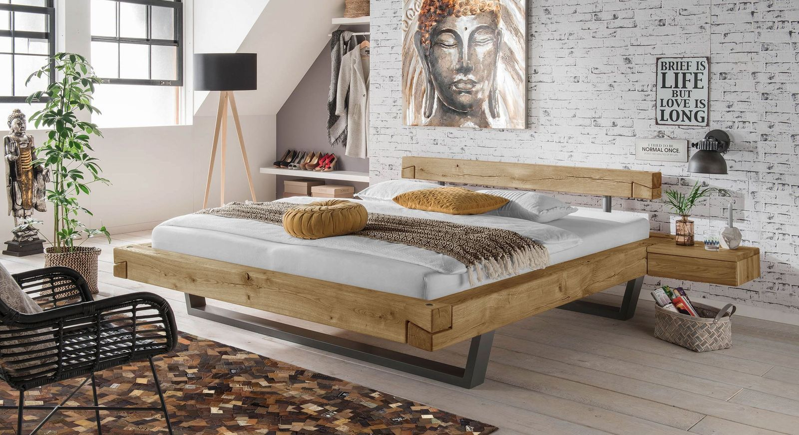 Echtholz Balkenbett Aus Wildeiche In Schwebeoptik Arsos Schwebebett Bett Eiche Schwebendes Bett