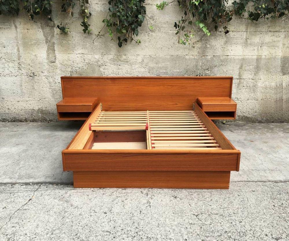 Mid Century Modern Teak Danish Platform Bed by Nordisk Andels-Eksport