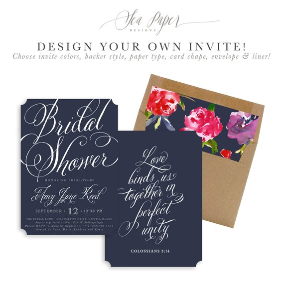 Amy Bridal Shower Invitation Design Your Own Invite Any