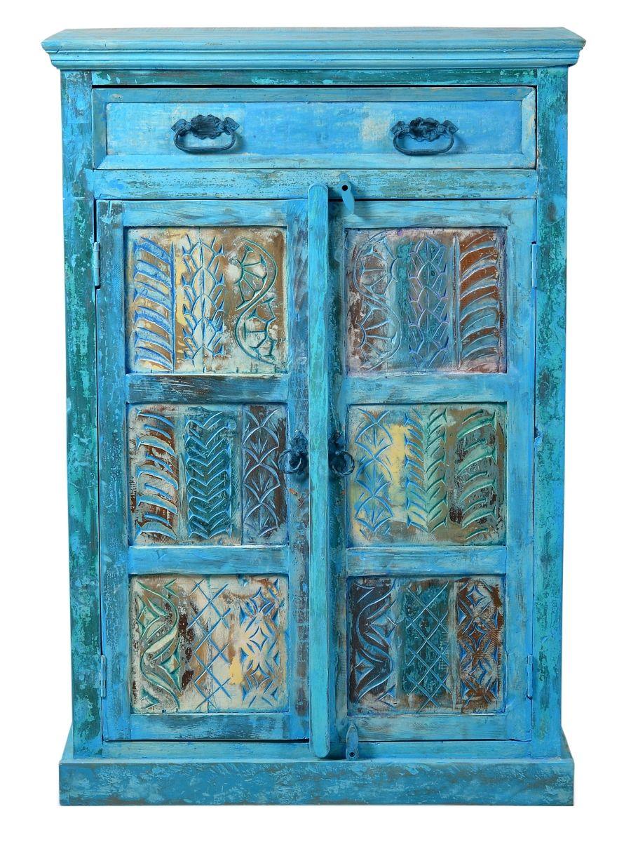 Luxury Blue old wood high chest teak Redoing Furniture