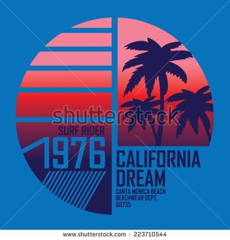 California Surf Illustration Vectors T Shirt Graphics