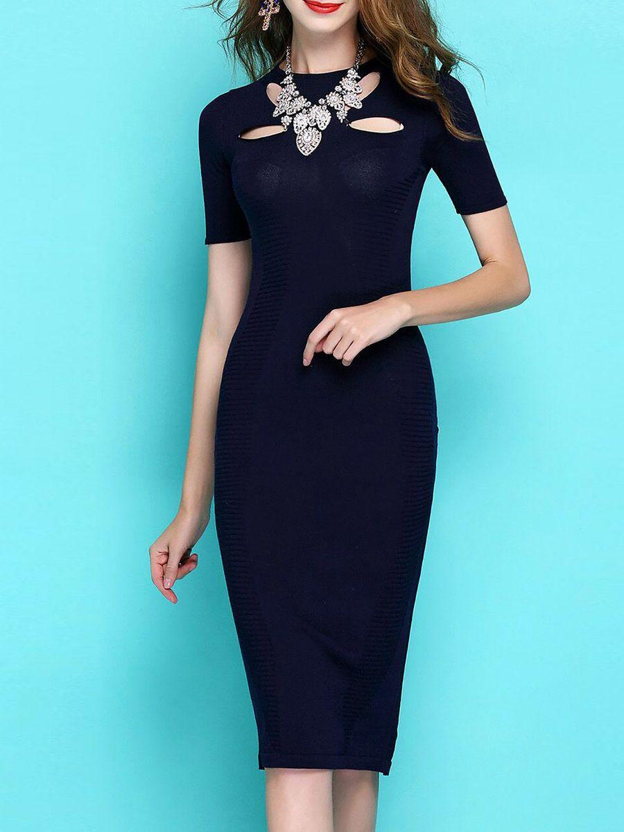 8603f66dd4d2 Elegant Bodycon Party Solid Cutout Crew Neck Midi Dress | SITK Dress ...