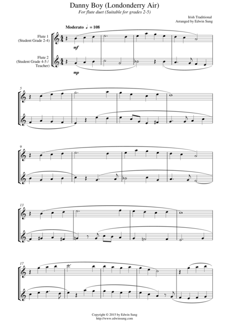 Danny Boy Londonderry Air For Flute Duet Suitable For Grades 2 5 Sheet Music Digital Sheet Music Londonderry Air