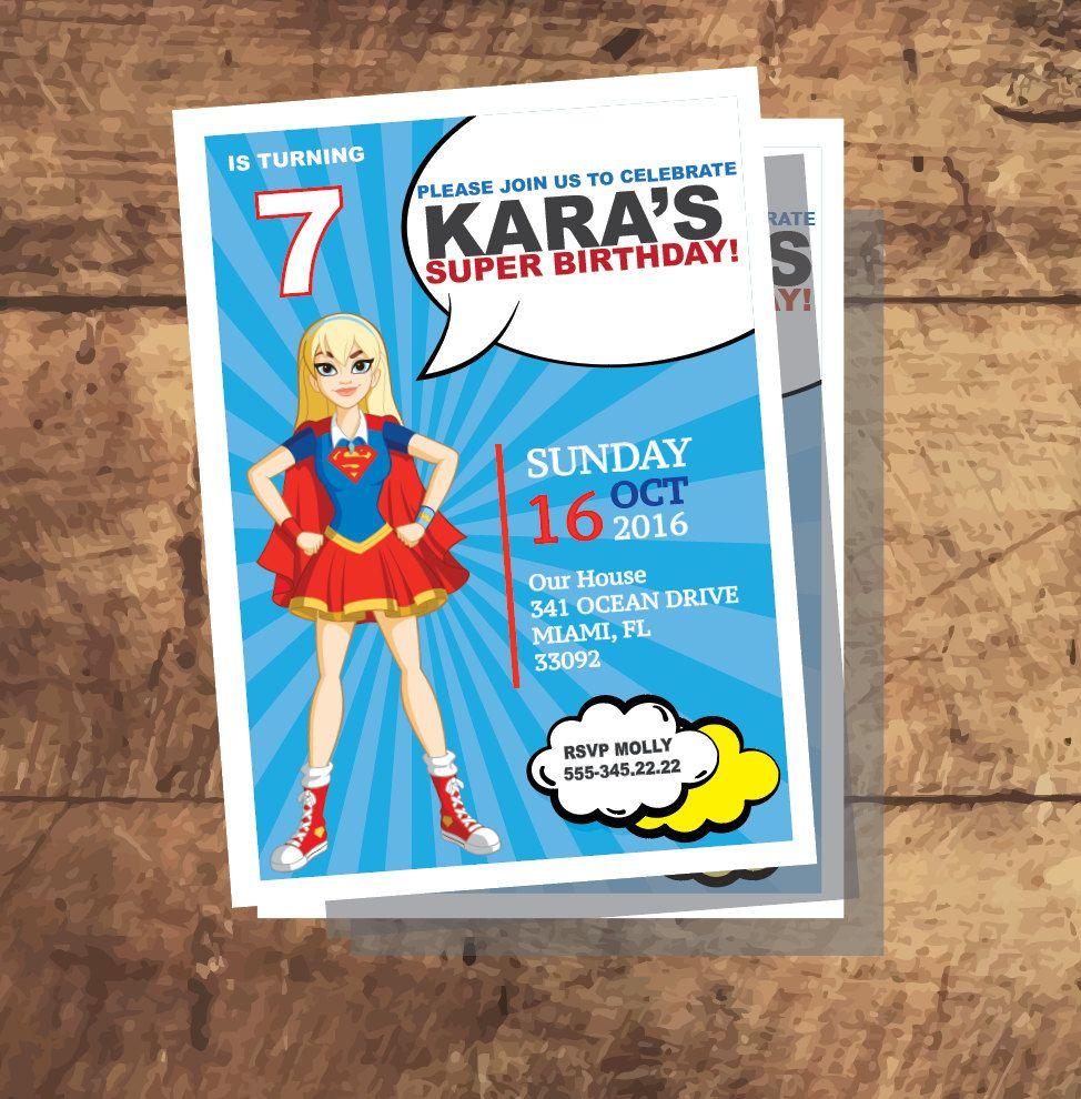 DC SUPERHERO Girls SUPERGIRL Invitation, Super Girl Birthday party ...