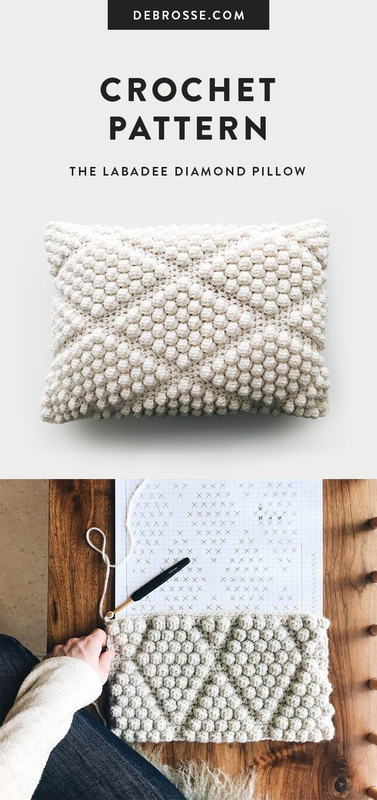 Crochet Bobble Diamond Pillow