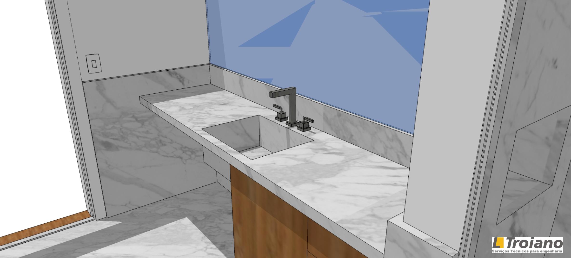 Banheiro desenhado com Sktechup