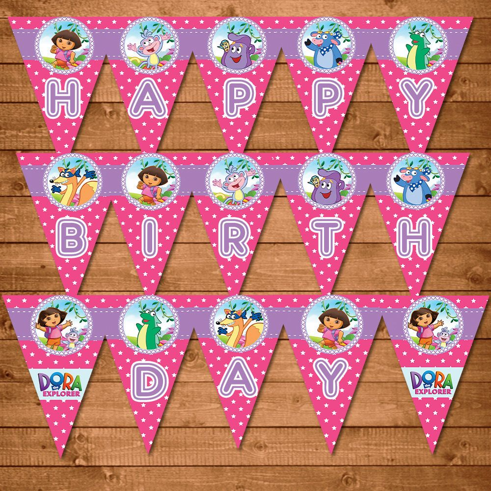 Dora The Explorer Birthday Banner Pink Dora Party Banner Dora The Explorer Party Favors Dora The Explorer Party Printables 100331 Birthday Party Banner Explorer Birthday Party Birthday Banner
