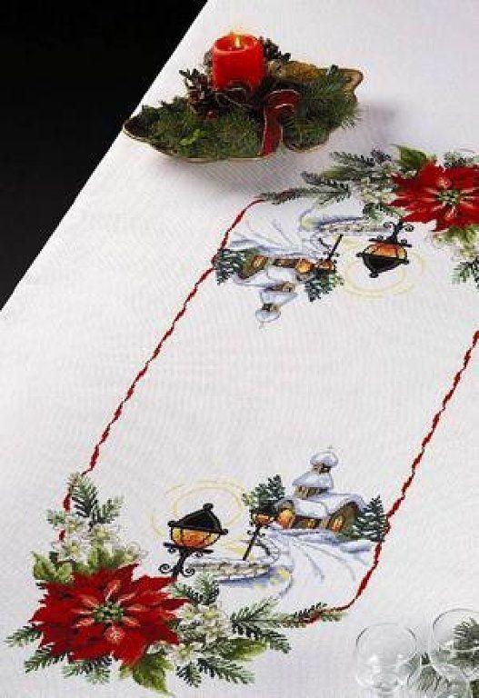 camino de mesa de nochebuenas | Navidad | Cross Stitch, Stitch y ...