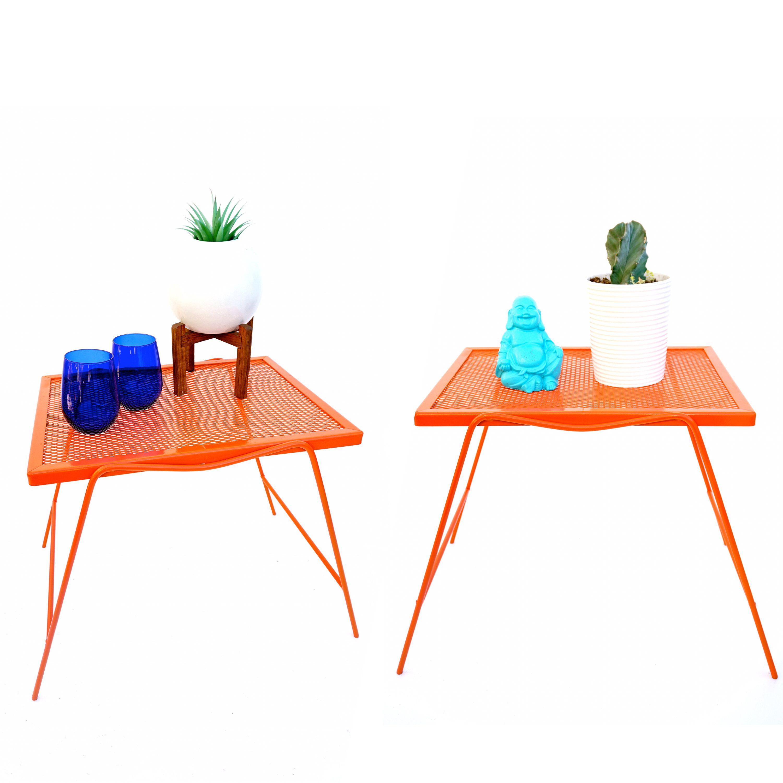 set of mid century modern hermes orange metal metal perfect patio