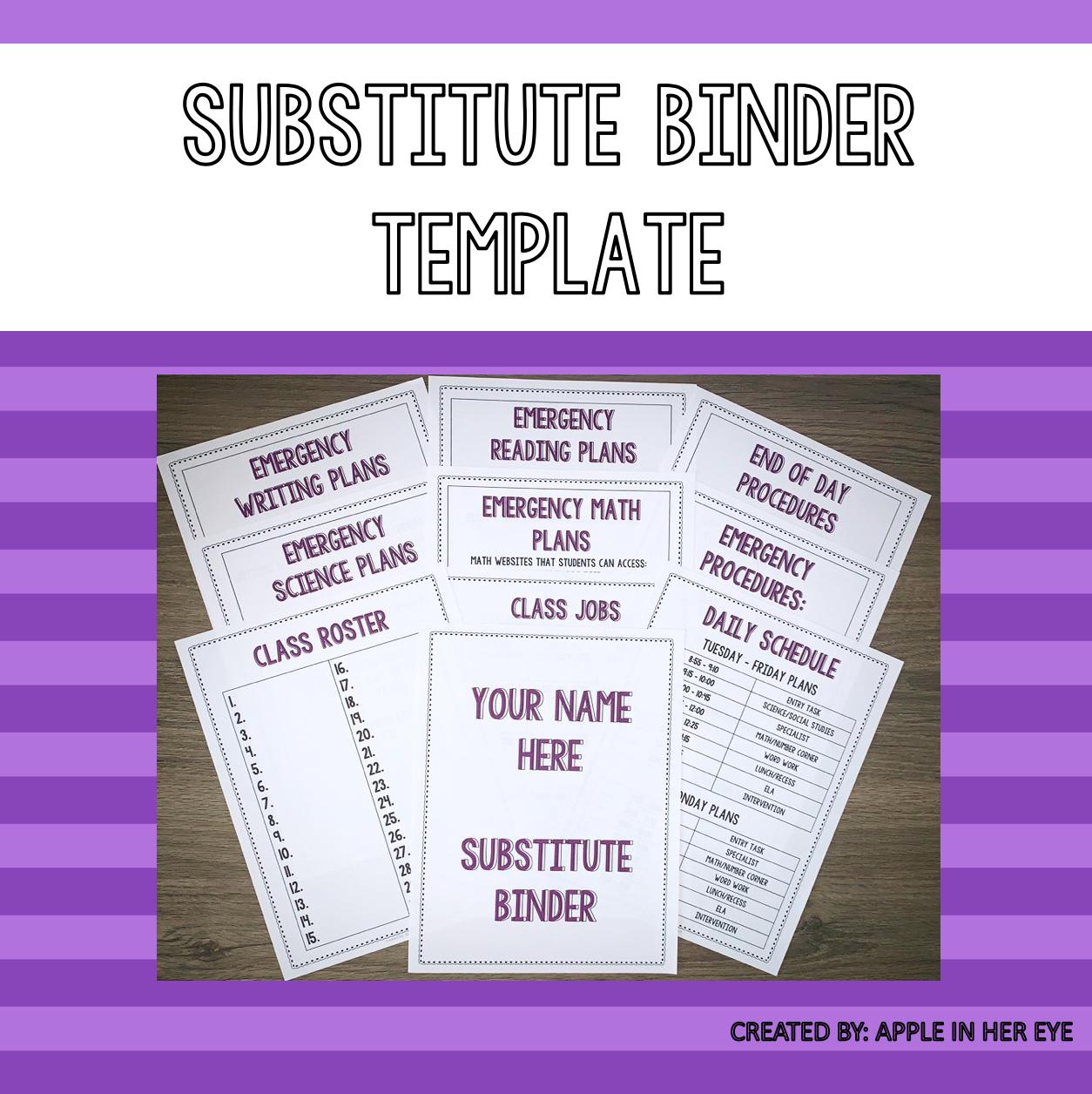EDITABLE - Substitute Binder Template