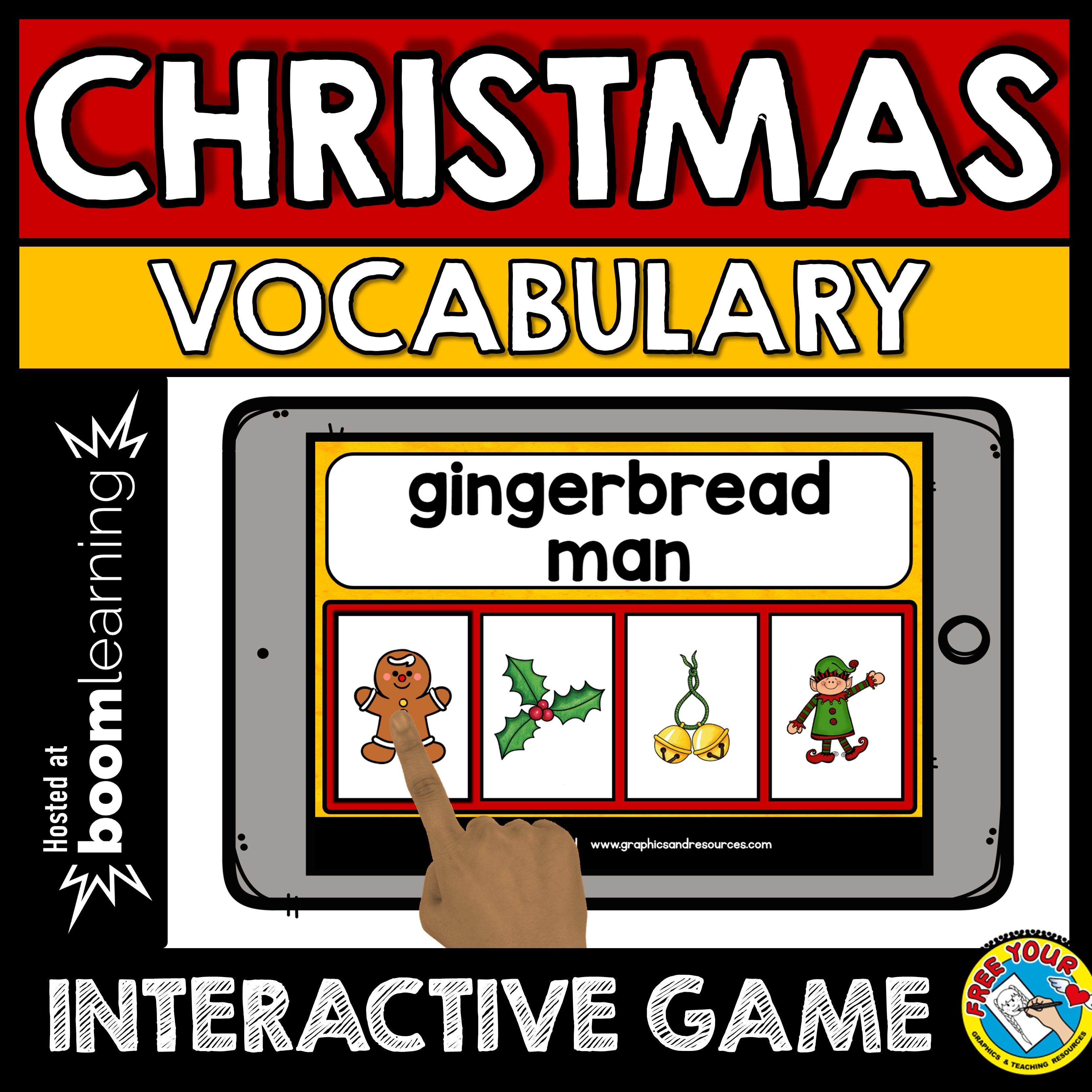 A fun Christmas vocabulary game where children read each