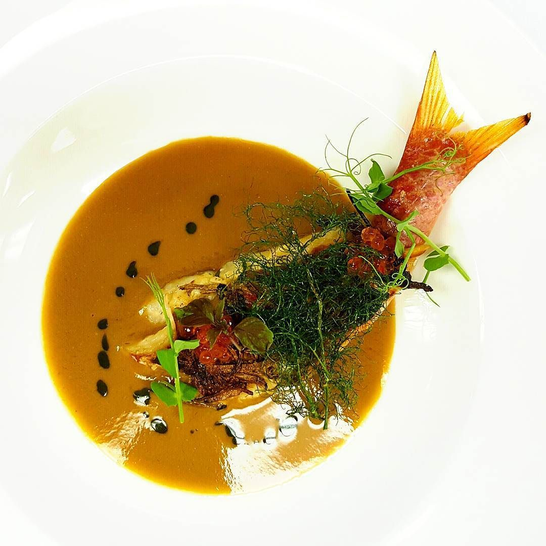 Chef John Creger On Instagram Taro And Black Truffle Crusted Rouget Shrimp Mousse Lobster Bisque Fennel Frond Lobster Bisque Nytimes Recipes Black Truffle