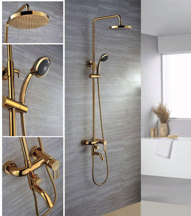 Gold Plated Classical Design Wall Mount Rainfall Shower Head Set Brass Faucet Handheld Shower Head Rain Shower Head Hand Held Shower Handheld Shower Head Gold hand held shower head
