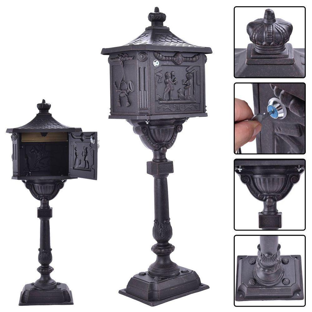 Mailbox Pedestal Stand Cast Aluminum Metal Postal Locking Post Security Bronze Mailboxcastaluminummetal Aluminum Metal Mailbox Lock Lock Door