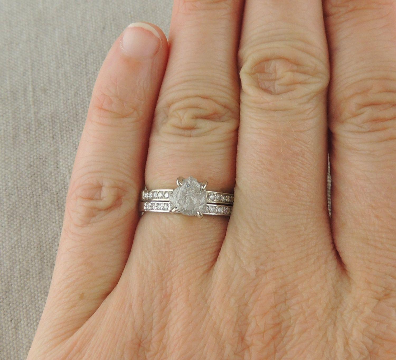 1.84 Carat Uncut Diamond Engagement Ring, 14k White Gold | Point No Point Studio