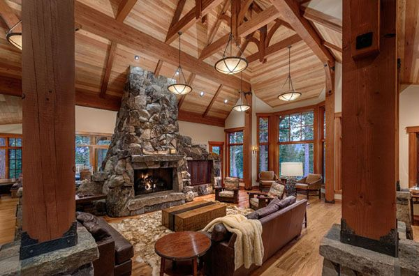 Cabin Style Living Rooms-11-1 Kindesign