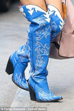 Lady Gaga teams bright blue thigh-high cowboy boots with Daisy ...