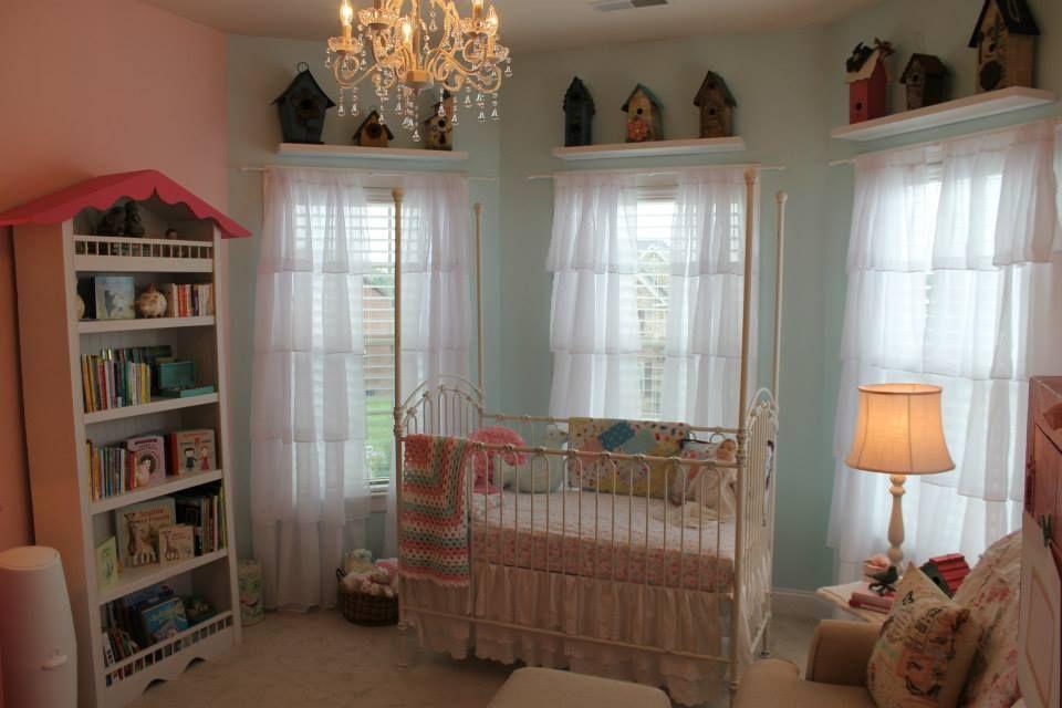 Shabby Chic Bird Themed Nursery Iron Crib Birdhouses