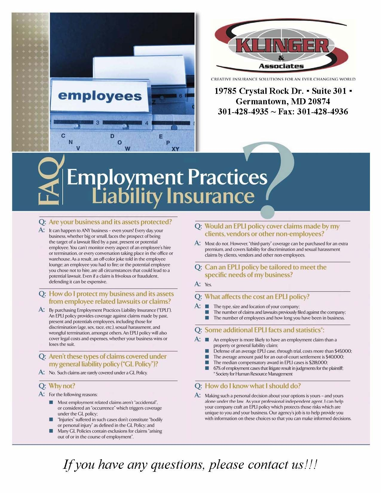 Faq Employment Practices Liability Insurance Employment