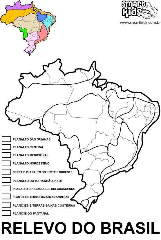 Mapas Do Brasil Para Colorir Relevo Geografia Relevos