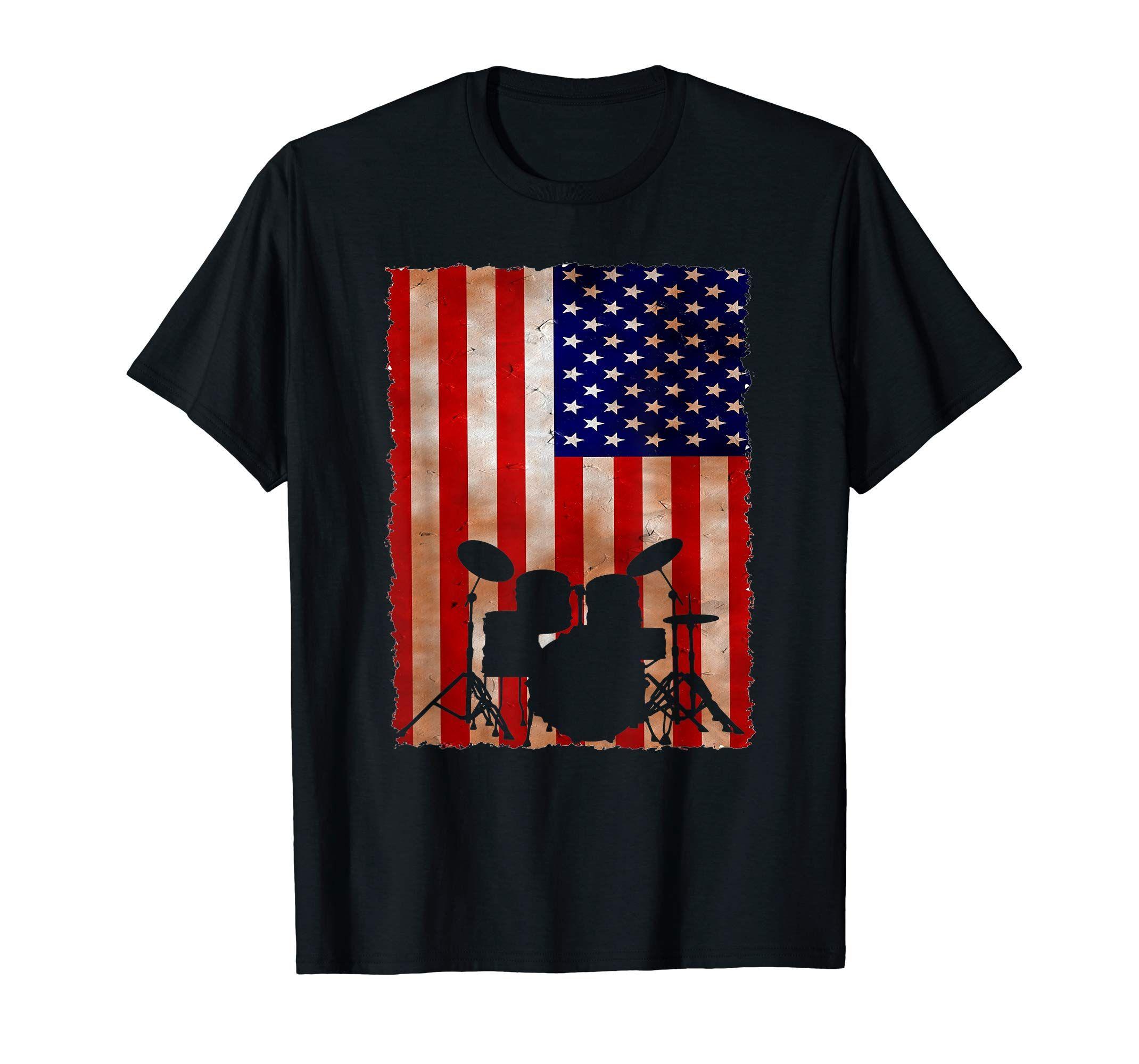 Drummer Vintage American Flag Drumming Drum