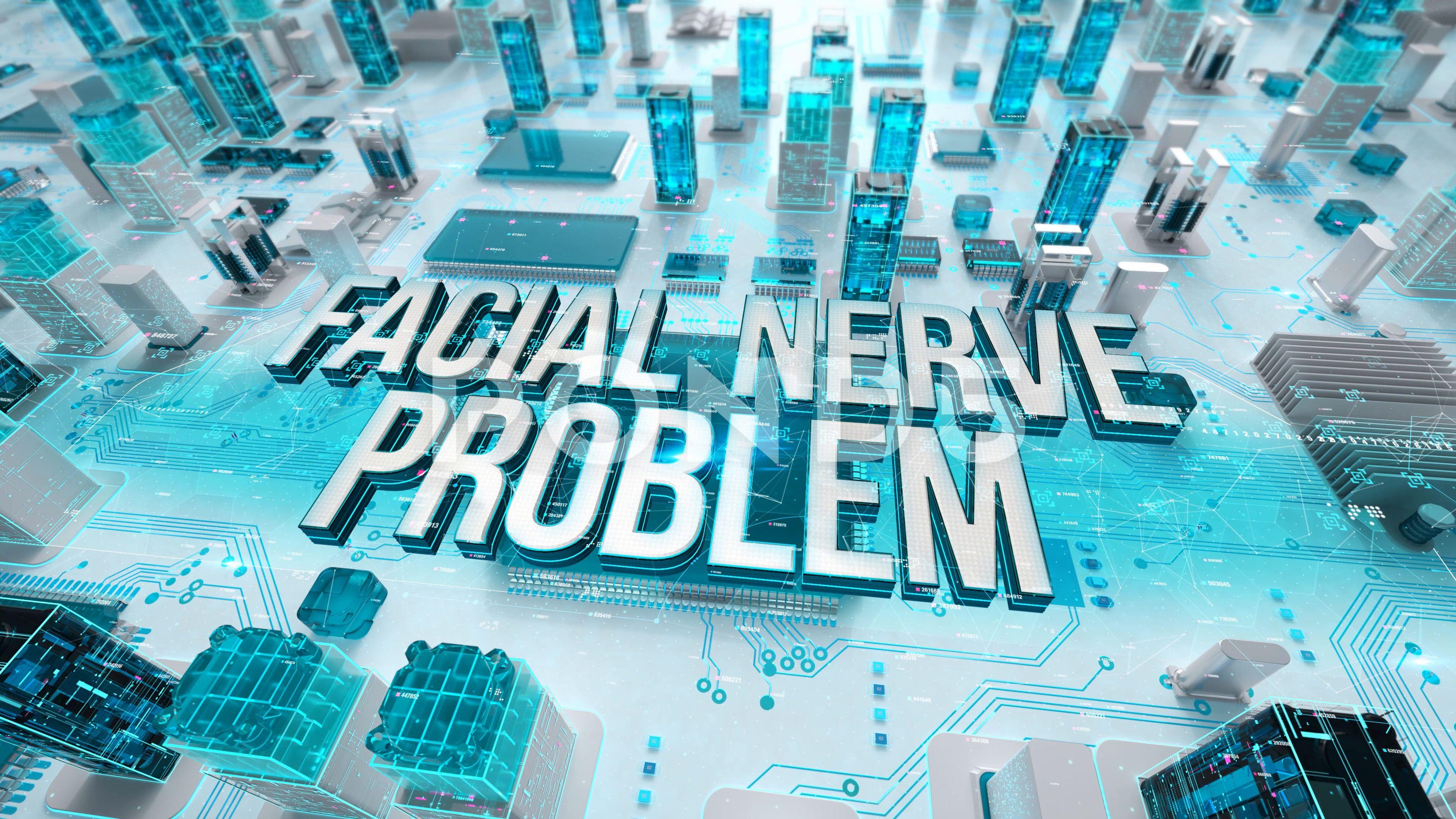 Facial Nerve Problem with medical digital technology concept Stock Footage ProblemmedicalFacialNerve
