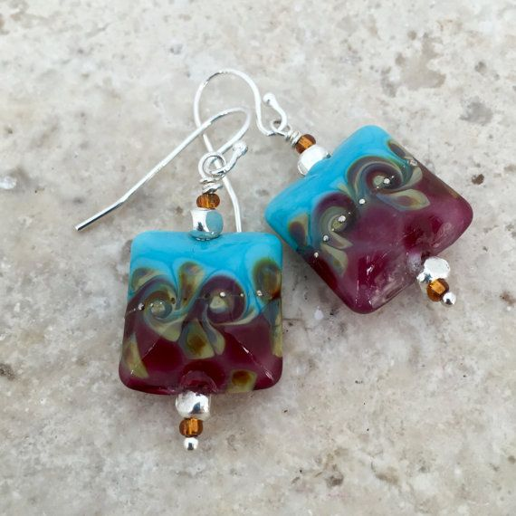 Blue and Pink Earrings with gold swirls, Glass Square Lampwork Earrings with Sterling Silver