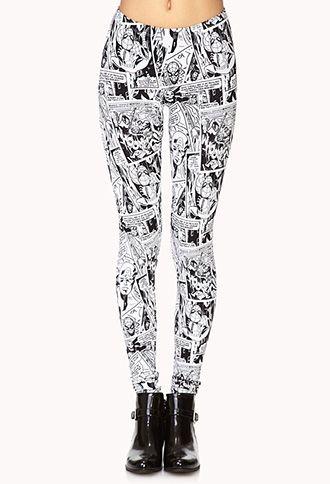 Cool subdue crazy leggings Comic Pop Leggings | FOREVER 21 ...