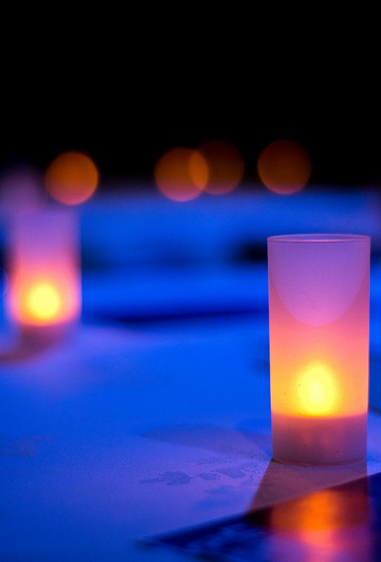 """""""Evening Candles..."""" A row of evening tables, decorated by intimate candles..."""
