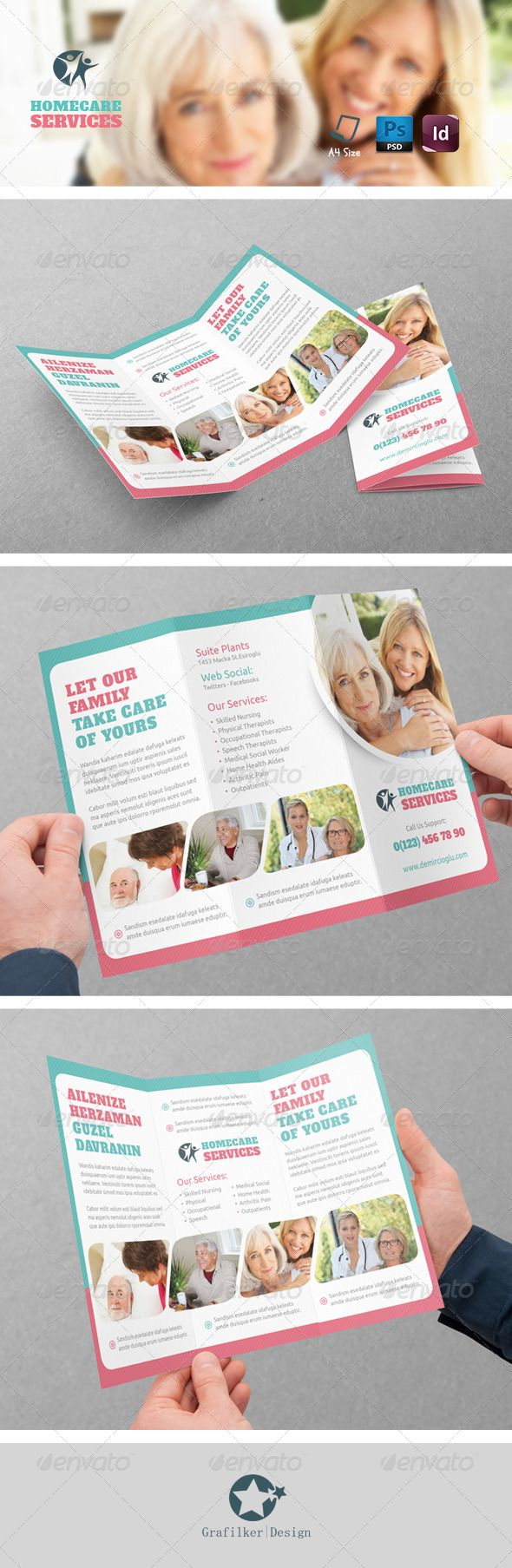 Home Care TriFold Templates Tri Fold Template And Brochures - Home care brochure template