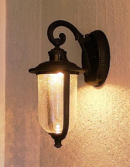 Hampton Bay Perdido Rust Outdoor Led Motion Sensor Wall Lantern