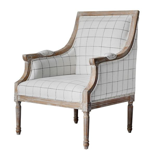 Product Details Mckenna White And Black Check Accent Chair
