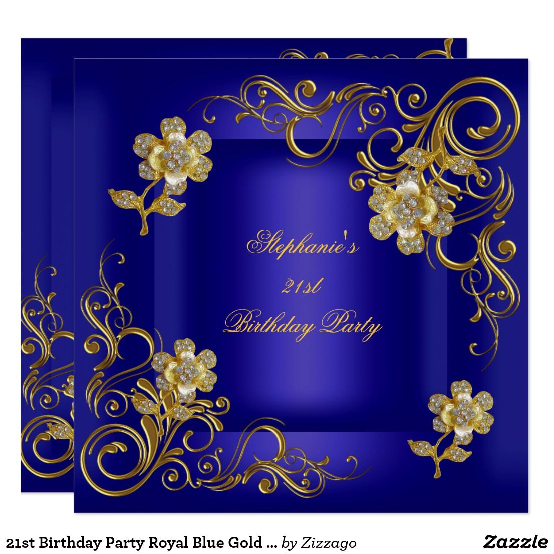 21st birthday party royal blue gold