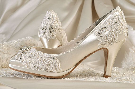 Womens Wedding Shoes Free Custom Colors Vintage Lace Bridal