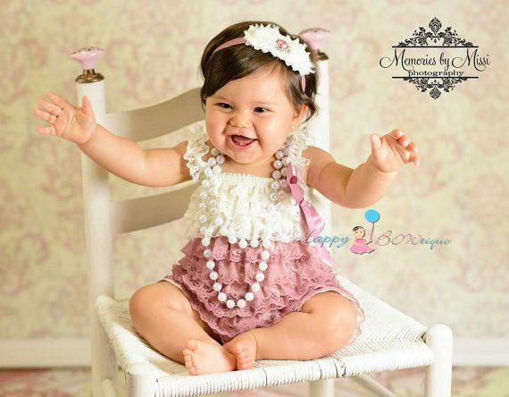 6-18months Baby Lace Romper and Headband Baby Birthday Outfit Ivory and Pink